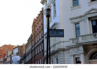 Road and street sign of Buckingham Palace Road SW1 on the steel pillar and lamp in London, England, UK