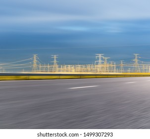 road and substation background, motion blur