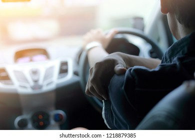 The road to success - a driver traveling on a road to the sun(Headache)
