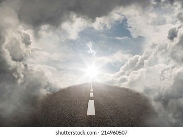 Road to success, empty highway in the heaven with copy space