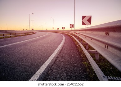 Road at the sunrise