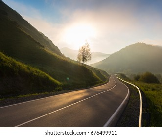 Road in sunrise time, Ailai mountains, Russia