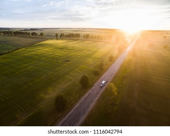 Road to Žagarė at sunset. Žagarė is located in the Joniškis district, northern  Lithuania, close to the border with Latvia.