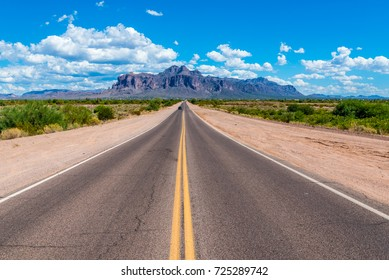 The road to Superstition Mountain in Arizona. Located outside of Phoenix, the area is a popular destination for tourists and treasure hunters looking for the Lost Dutchman's gold.