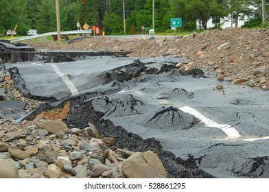 Road surface moved during flood