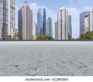 Road surface and Shanghai skyline