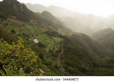 Road TF-12 in Anaga Rural Park - evergreen peaks with ancient forest on Tenerife, Canary Islands, winter travel destination