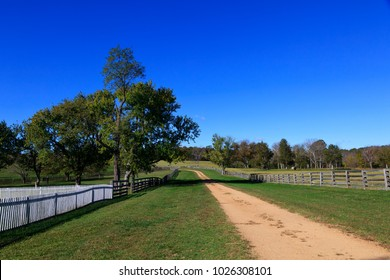 The road that runs through Appomattox Court House National Park in Virginia. The historical site of American Civil War surrender site at McLean House.
