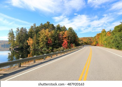 Road through Algonquin Provincial Park in fall, Ontario, Canada