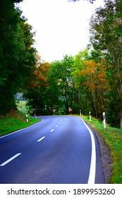road through autumn landscape at caldera Laacher See
