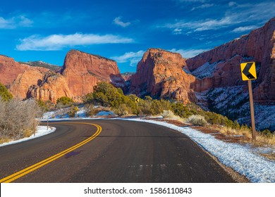 Road through canyons and mountains.
