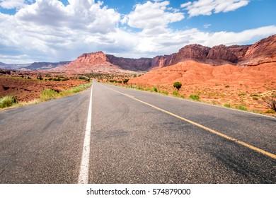 Road through capital reef national park, Utah, USA