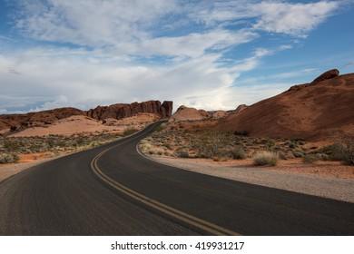 road through the desert in nevada