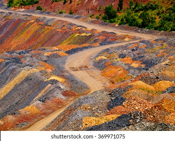 Road through dumps of depleted metal ore