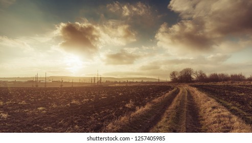 Road through the field. Sunset. Beginning of winter
