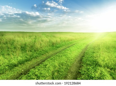 road through fields with green grass and blue sky with clouds, natural background
