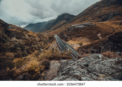 Road through Glencoe valley