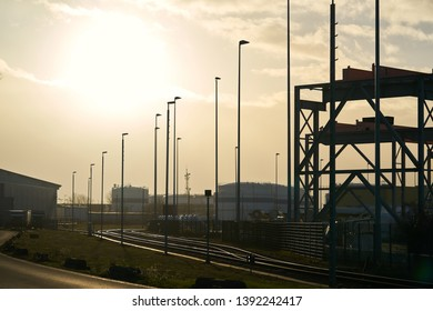 Road through an industrial area in the north of Magdeburg in Germany