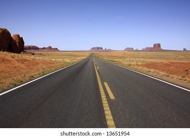 Road through the Monument valley