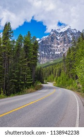 Road through the mountains and a forrest. Perfect scenery of a highway in Canada/America.