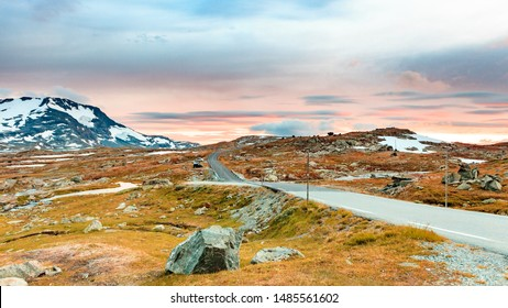 Road through mountains landscape in Norway. National tourist scenic route 55 Sognefjellet from Lom to Gaupne.