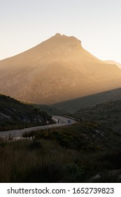 road through the mountains in Murcia near Cartagena, Spain at sunset (Costa Cálida)