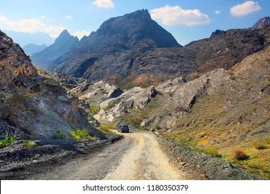 Road through mountains  Oman