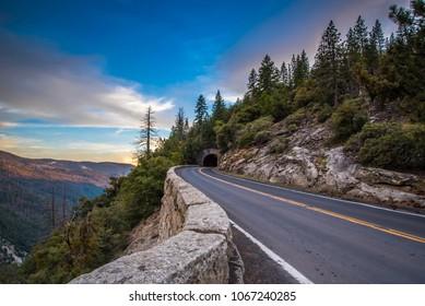 road through the mountains at yosemite