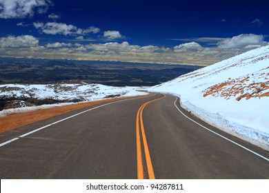 Road through Pikes Peak mountain of Colorado, USA