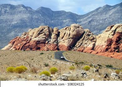 Road through Red rock canyon, Nevada
