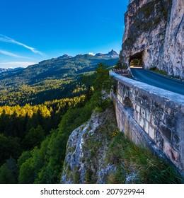 Road through rock to Passo Falzarego, Dolomites