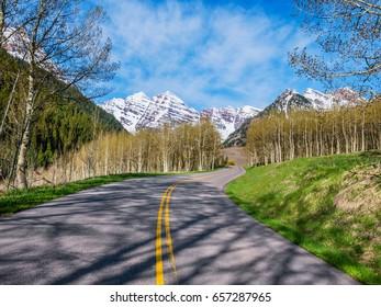 Road through Rocky Mountains in Colorado