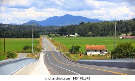 Road through scenic Skagit Valley in Washington state