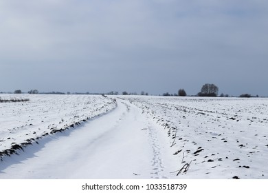 road through the snow-covered field