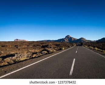 Road through Teide National Park at th eIsland of Tenerife