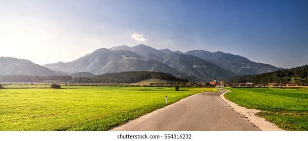 A road through the village. Alps. Slovenia