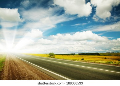 Road through the yellow sunflower field with clouds on blue sky