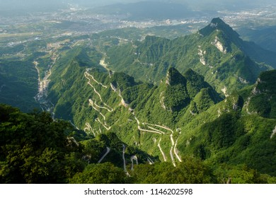 Road in Tianmen mountain national park, Mountain in china view from top
