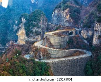 Road of Tianmen mountain national park, Hunan province, China