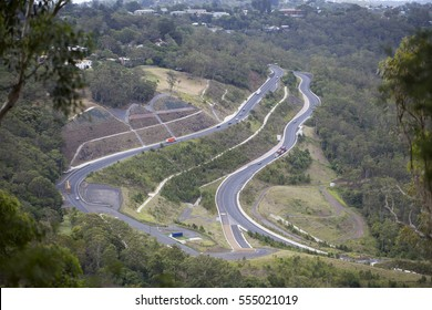 Road To Toowoomba. Toowoomba in Queensland lies on the top of a range of mountains known as the Great Dividing Range. To get traffic up the steep incline an imposing new road has been built.