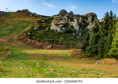 Road to the top of Babin zub (The Grandmather's tooth) which is the most beautiful peak of Stara planina ( Balkan mountains ). The impressive and  big striking rocks and dense plants on the top.
