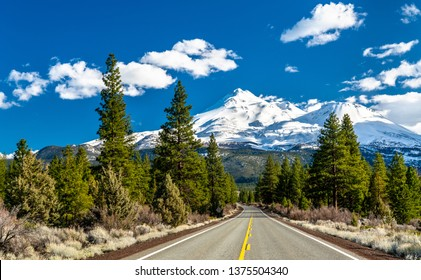 Road towards Mounts Shasta and Shastina in California, United States