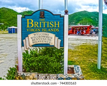 Road Town, British Virgin Islands - February 06, 2013: Picture of colorful bus coach