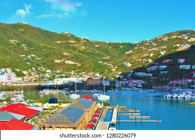 Road Town, Tortola, British Virgin Islands, Caribbean - February 28th 2018: A scenic view of the port and surrounding landscape of Road Town, Tortola, the largest of the British Virgin Islands.