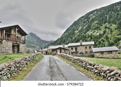 Road and traditional house in Andorra, Pyrenees