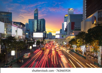Road with traffic jams area in front Central World, Economic cen