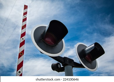 Road traffic light with blue sky background.