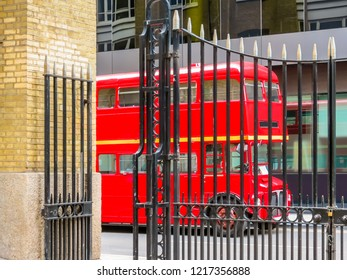 Road Traffic in London. Red Double Decker Bus on the street of London, United Kingdom