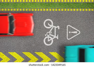 Road traffic offense. Driving by bicycle lane. Concept of biking safety. Top view on road with bike path sign and marks and moving blurred cars on it infracting breaking laws