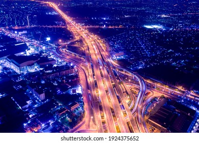 Road traffic transportation. Road and Roundabout, multilevel junction motorway, multiple roads in city, vehicular intersection, expressway with important infrastructure. For abstract background.